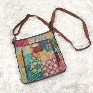 FOSSIL Crosstown Leather Floral Crossbody Bag